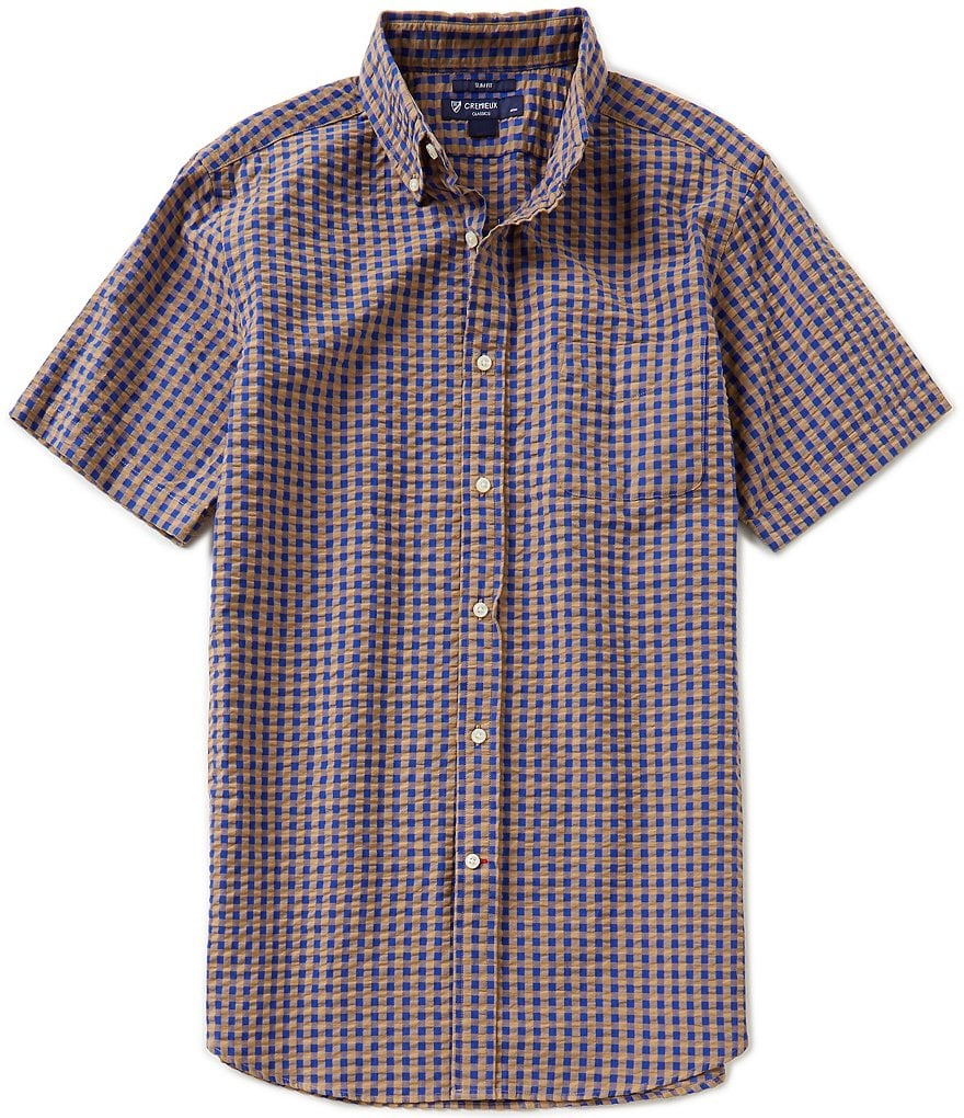 Cremieux Checked Seersucker Slim-Fit Button-Down Short-Sleeve Shirt