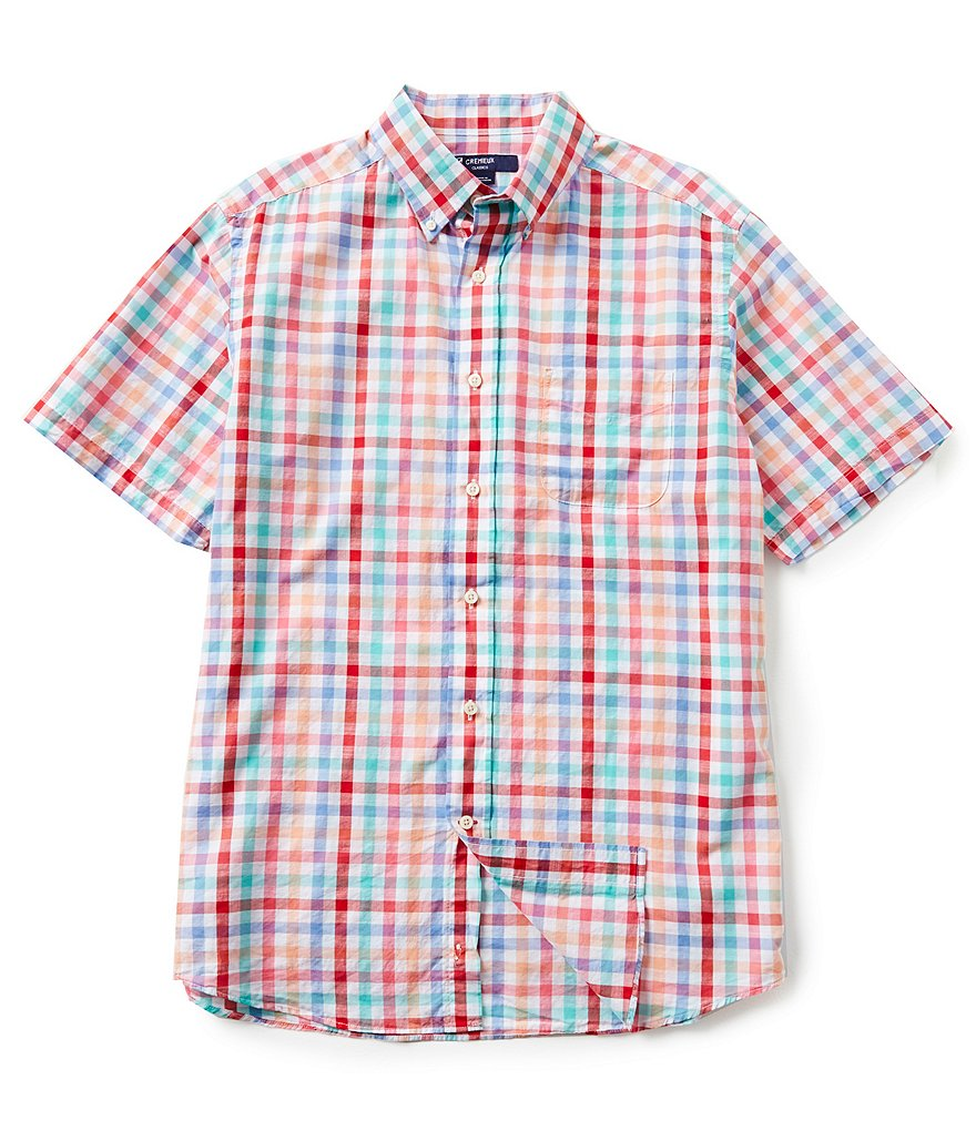 Cremieux Short-Sleeve Checked Slub Shirt