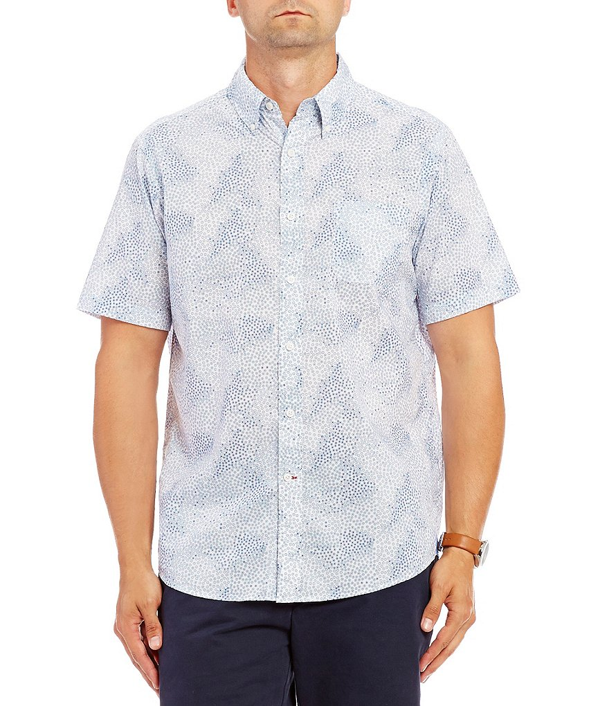 Cremieux Dot Print Short-Sleeve Woven Shirt