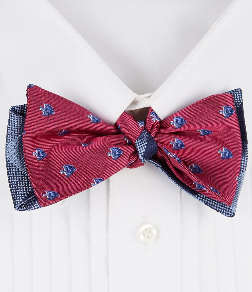Cremieux Fish Plaid Reversible Silk Bow Tie Dillards