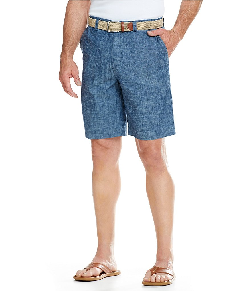 Cremieux Flat-Front William Chambray Shorts