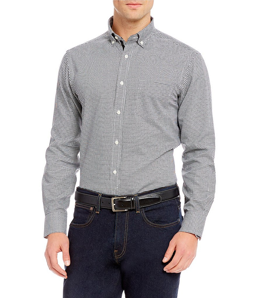 Cremieux Houndstooth Long-Sleeve Woven Shirt