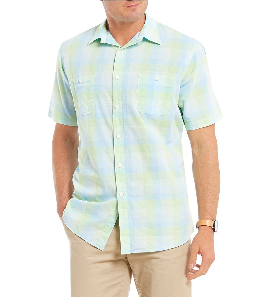 Cremieux Hunter Plaid Ombre Short-Sleeve Woven Shirt