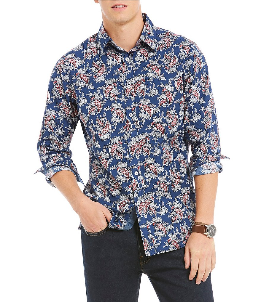 Cremieux Jeans Big & Tall Paisley Long-Sleeve Woven Shirt