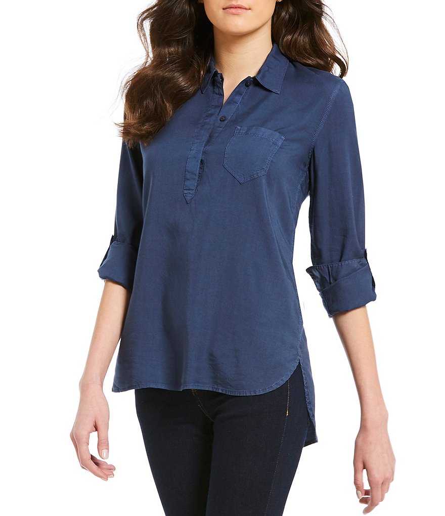 Cremieux Jenn Tencel Button Front Blouse