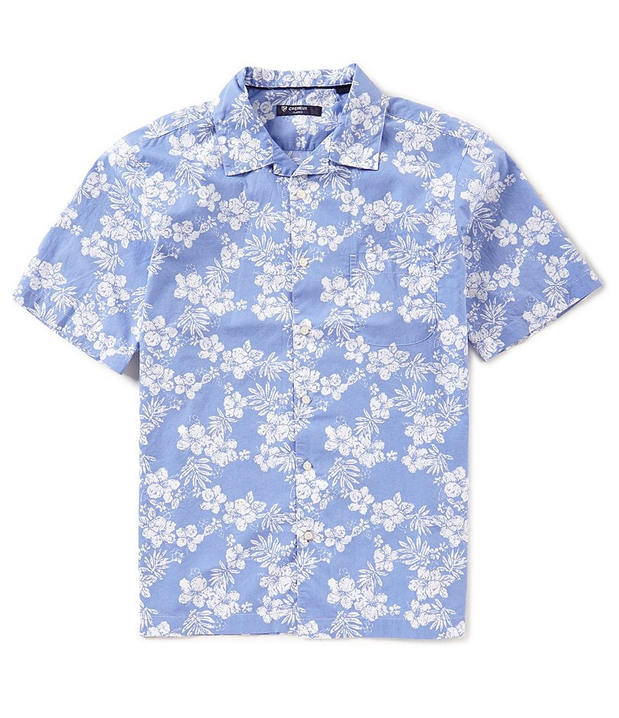 Cremieux Leaf Print Short-Sleeve Woven Shirt