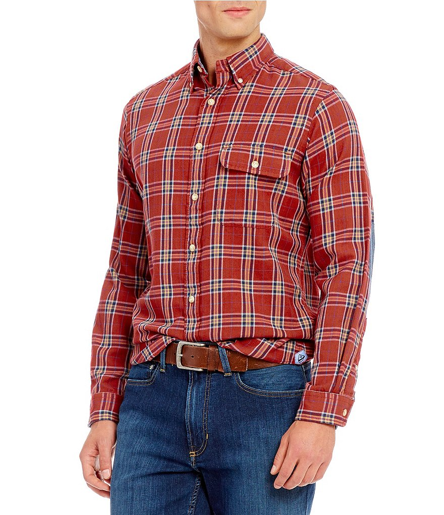 Cremieux Long-Sleeve Elbow-Patch Plaid Flannel Woven Shirt