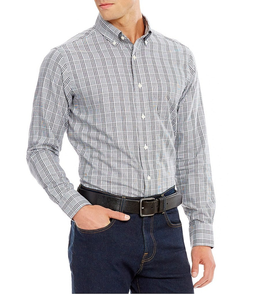 Cremieux Grandeur Nights Collection Long-Sleeve Glen Plaid Woven Shirt