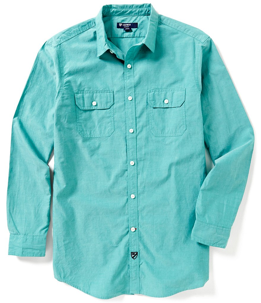 Cremieux Long-Sleeve Solid Pinpoint Woven Shirt
