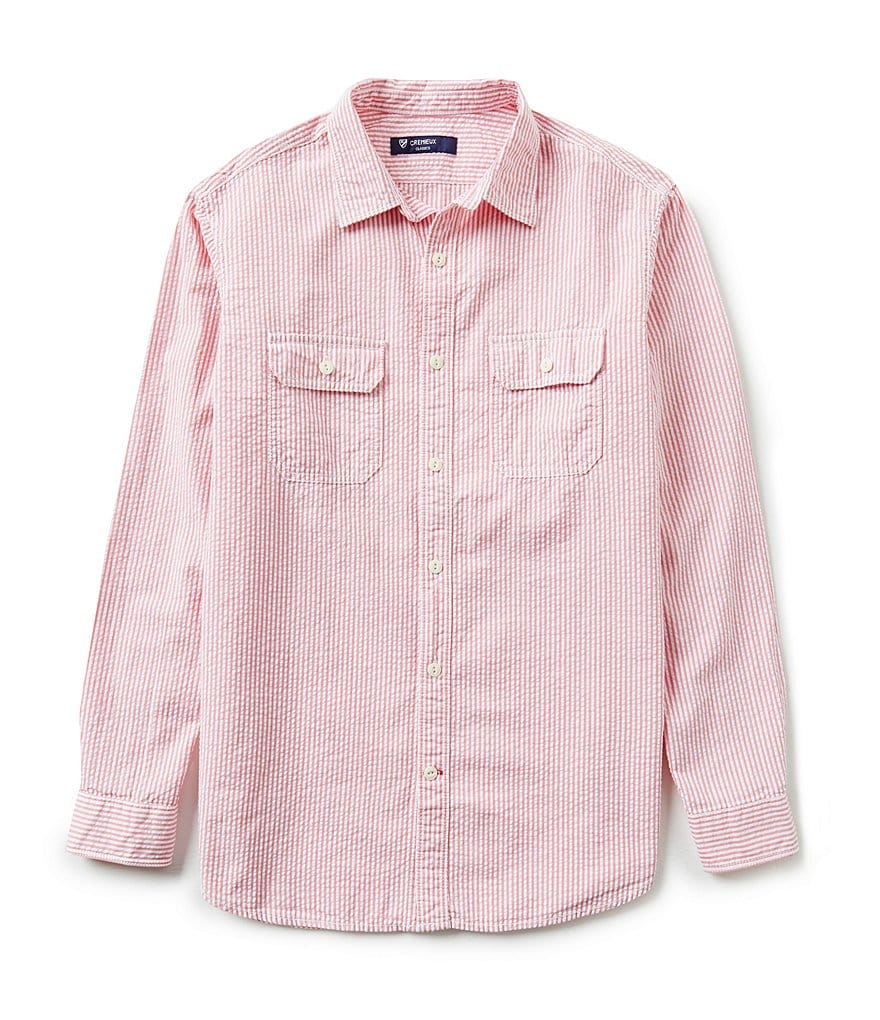 Cremieux Long-Sleeve Stripe Seersucker Woven Shirt
