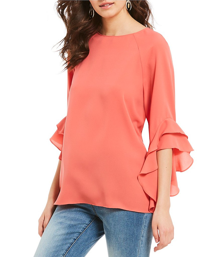 Cremieux Madelyn Solid Ruffle Bell Sleeve Blouse