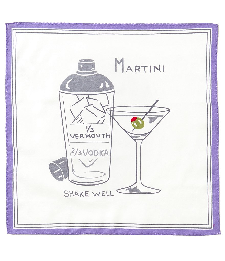 Cremieux Martini Repeating Print Pocket Square