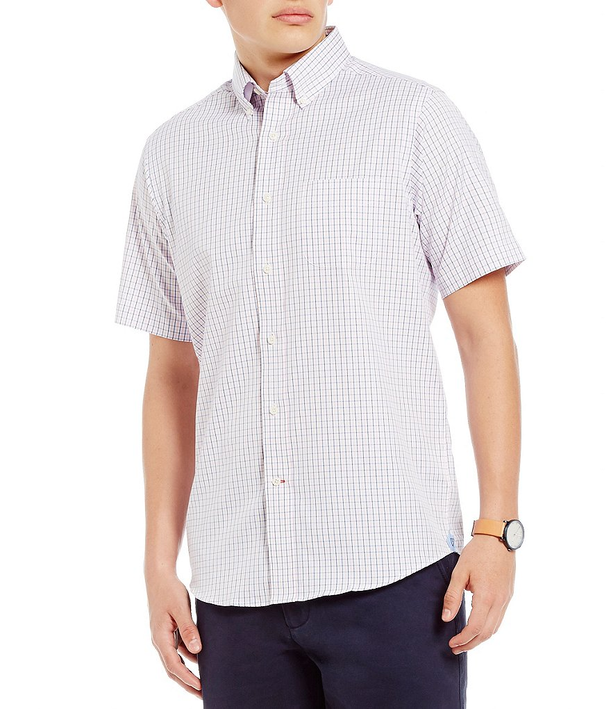 Cremieux Mini-Check Poplin Short-Sleeve Woven Shirt