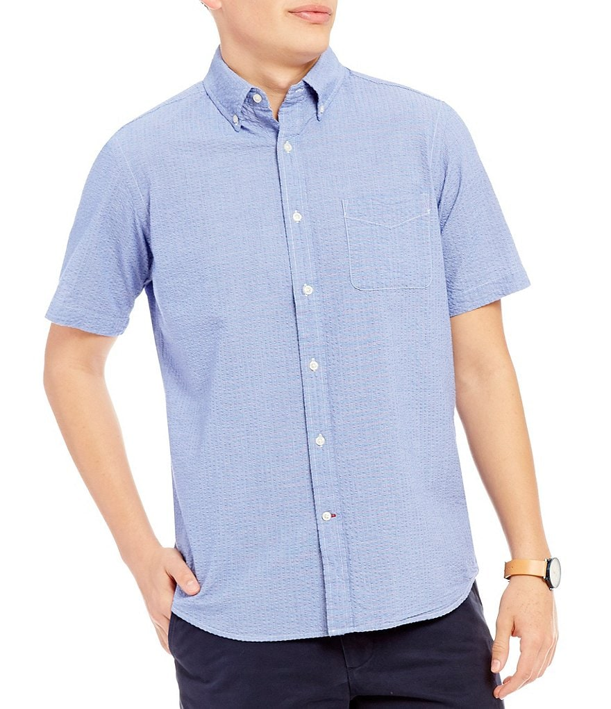 Cremieux Mini-Stripe Seersucker Short-Sleeve Woven Shirt