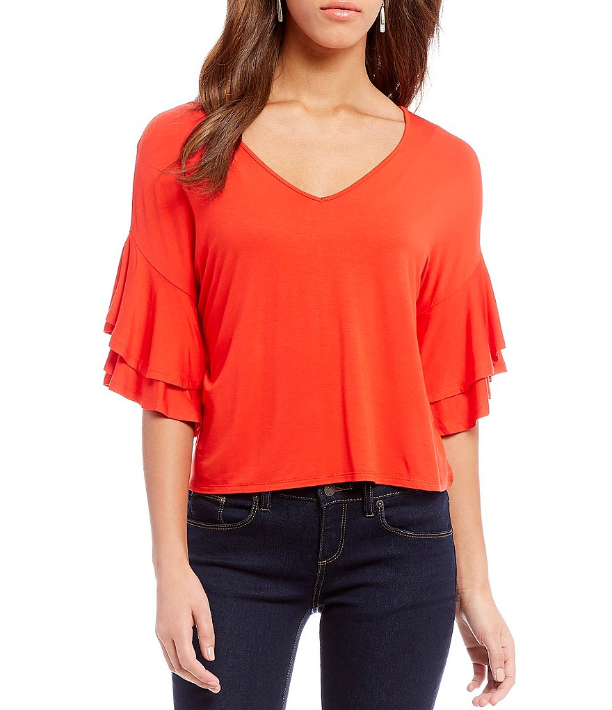 Cremieux Monica Tiered Ruffle Sleeve Knit Top