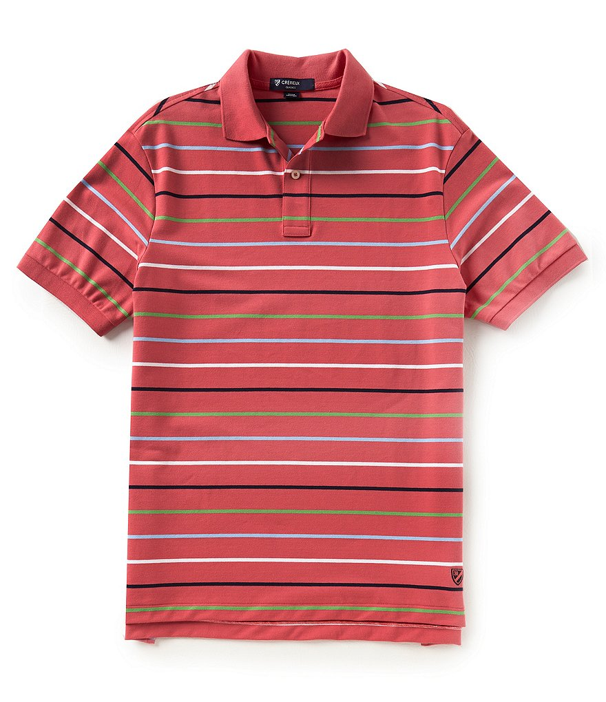 Cremieux Multi-Stripe Pique Stretch Short-Sleeve Polo Shirt