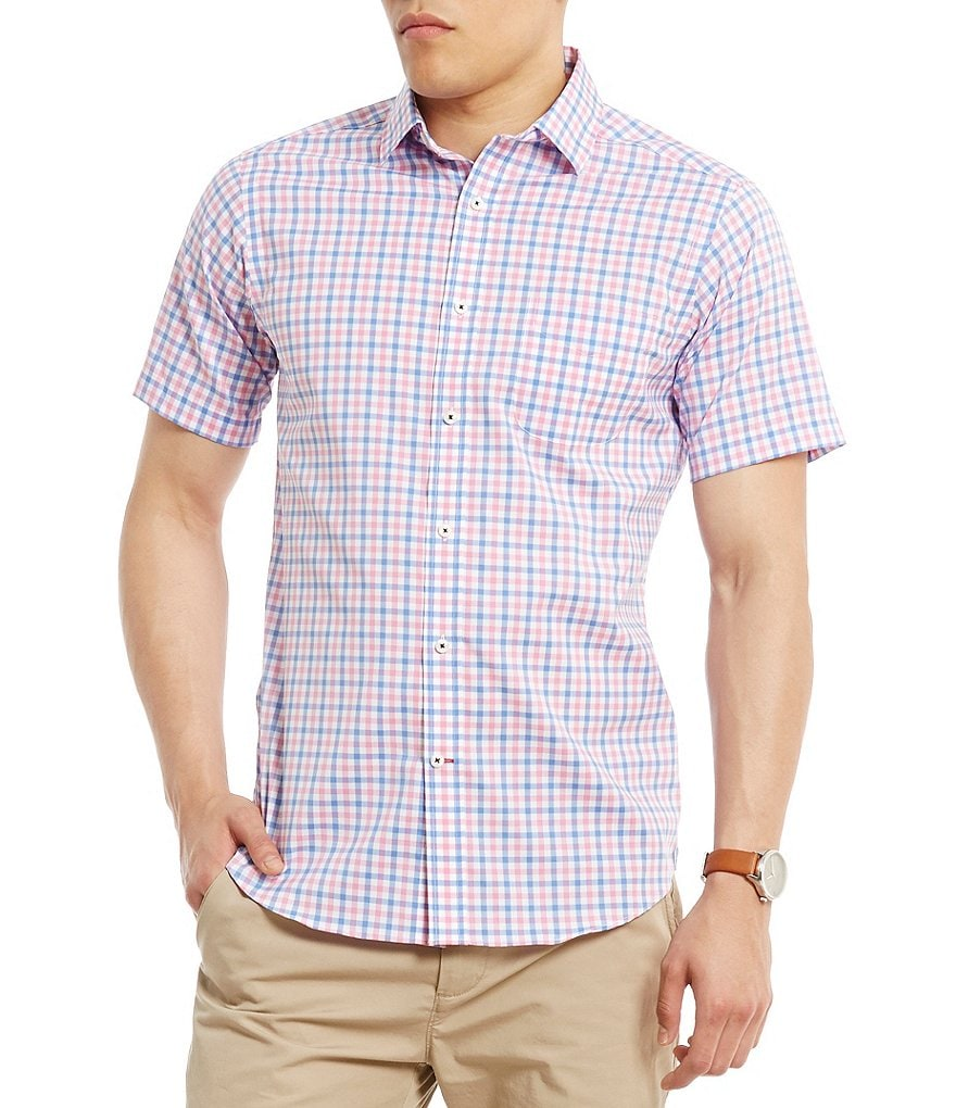 Cremieux Networking Collection Cool Cotton Checked Short-Sleeve Woven Shirt