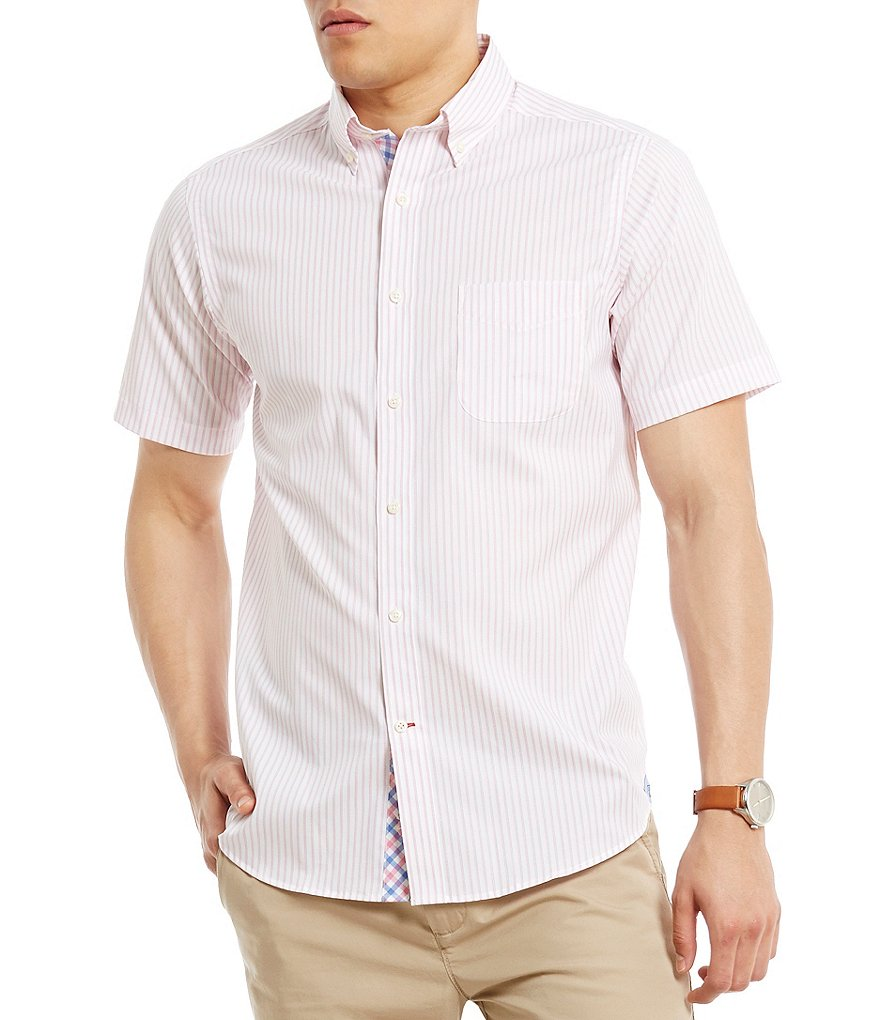 Cremieux Networking Collection Cool Cotton Striped Short-Sleeve Stretch Woven Shirt