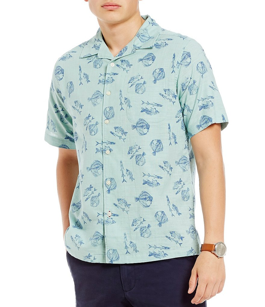 Cremieux New Camp Fish Printed Short-Sleeve Woven Shirt