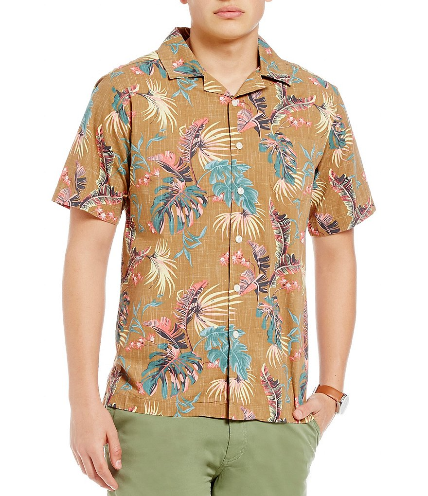 Cremieux New Camp Reversible Palm Tree Print Short-Sleeve Woven Shirt
