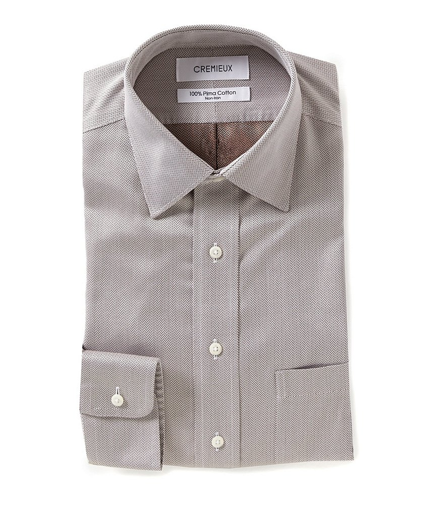 Cremieux Non-Iron Herringbone Classic Fitted Spread-Collar Dress Shirt
