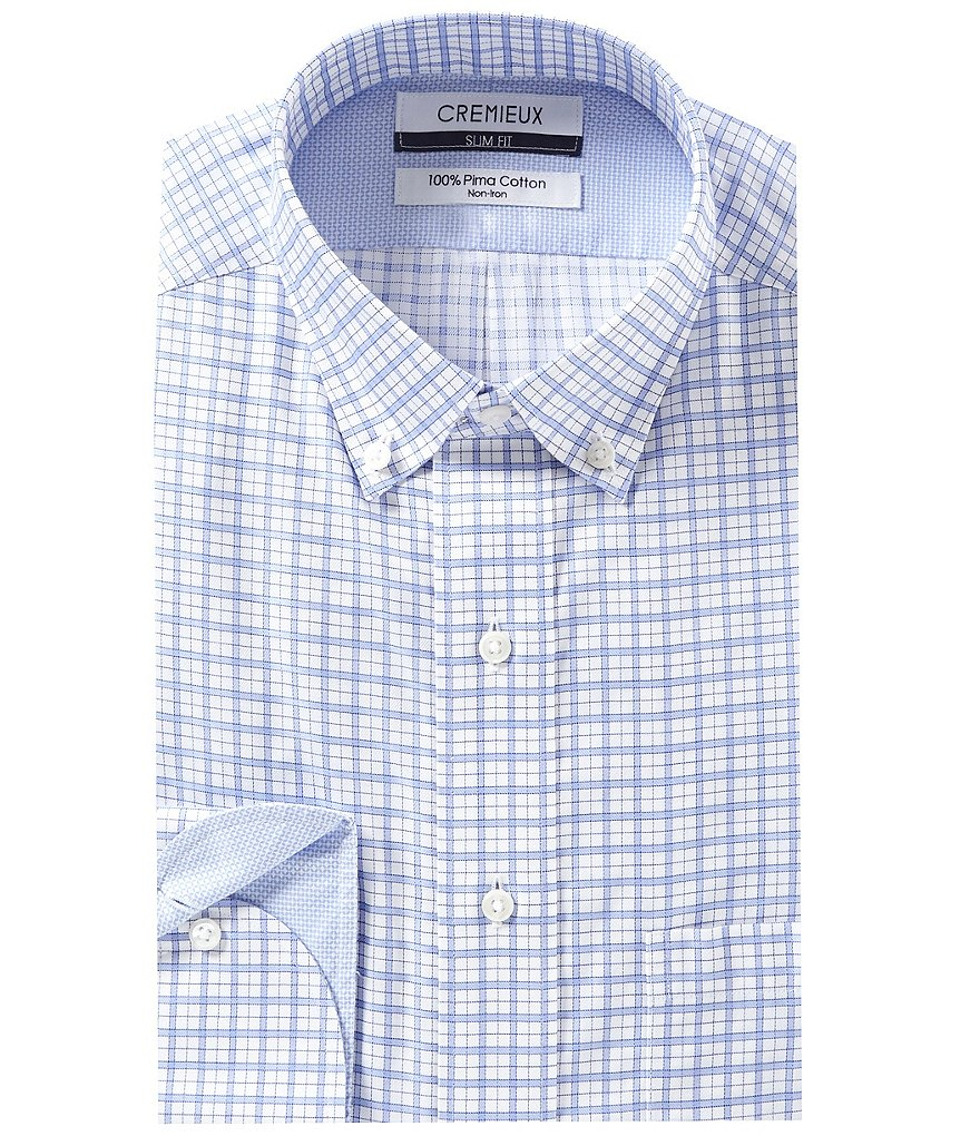 Cremieux Non-Iron Slim Fit Button-Down Collar Checked Dress Shirt
