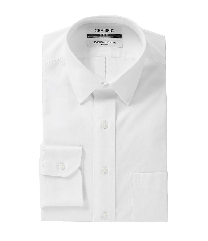 Cremieux Non-Iron Slim-Fit Point-Collar Solid Dress Shirt
