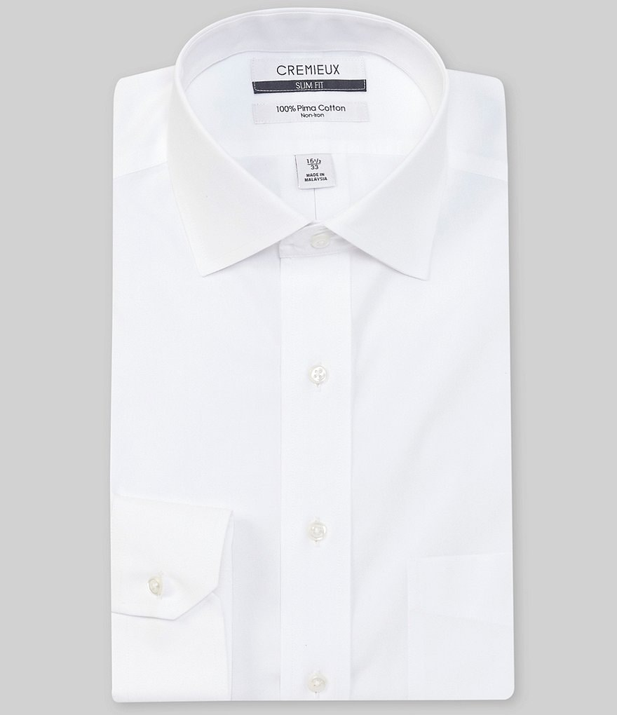 Cremieux Non-Iron Slim-Fit Spread-Collar Solid Long Sleeve Dress Shirt