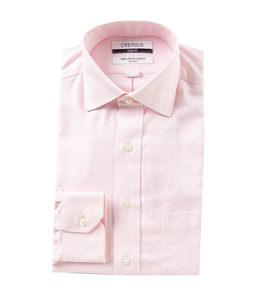 Cremieux Non-Iron Slim-Fit Spread Collar Textured Solid Dress Shirt