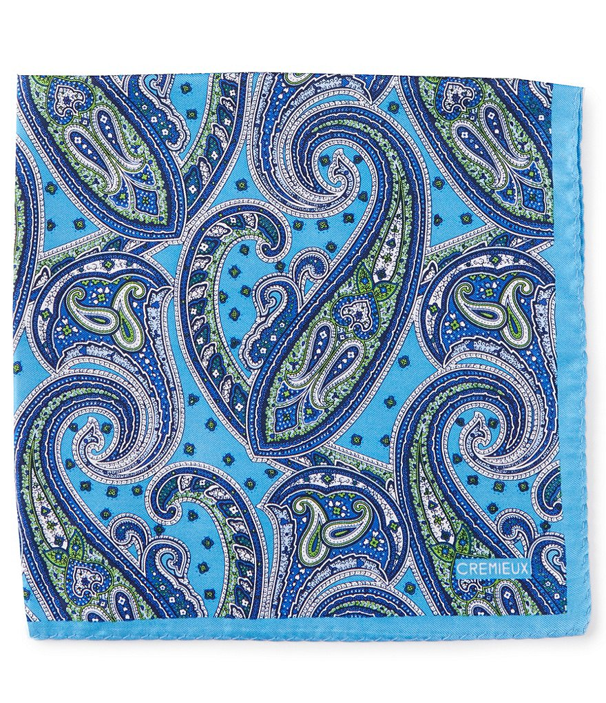 Cremieux Large Paisley Silk Pocket Square