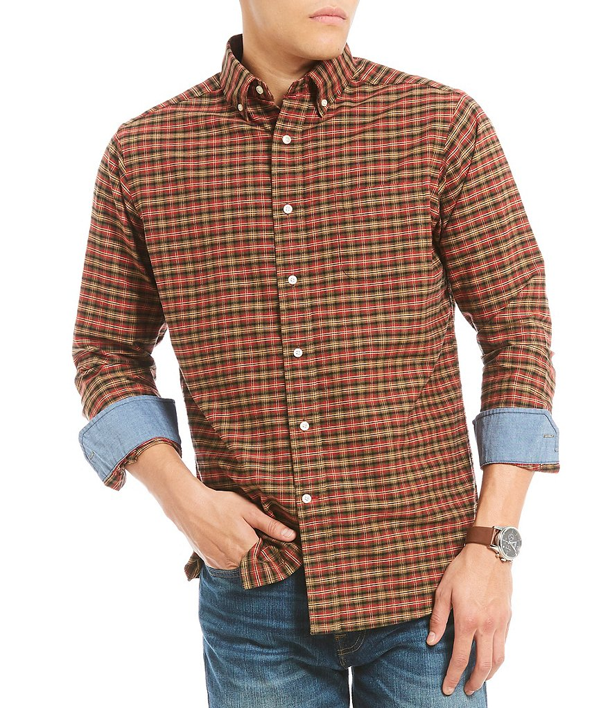 Cremieux Mini Check Plaid Oxford Long-Sleeve Woven Shirt