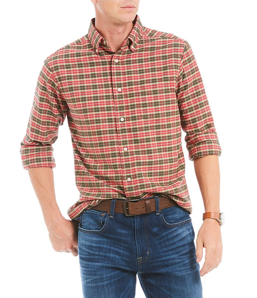 Cremieux Plaid Mini Grid Oxford Plaid Long-Sleeve Woven Shirt