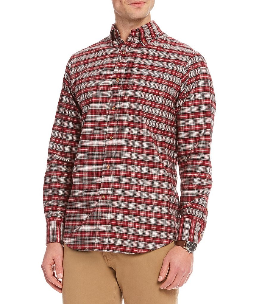 Cremieux Plaid Small Grid Oxford Long-Sleeve Woven Shirt