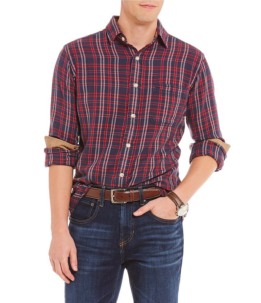 Cremieux Grid Line Plaid Vintage Twill Long-Sleeve Woven Shirt