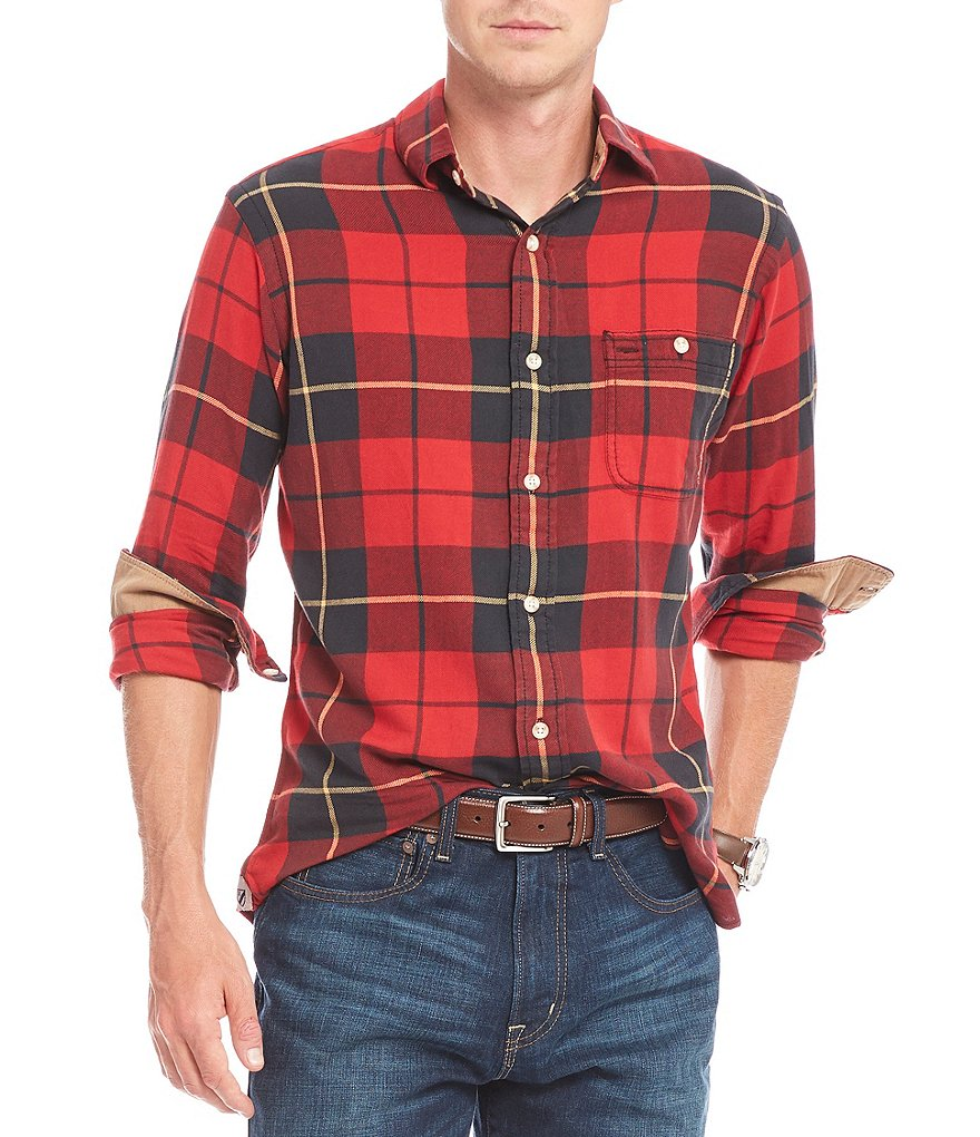 Cremieux Large Grid Plaid Vintage Twill Long-Sleeve Woven Shirt