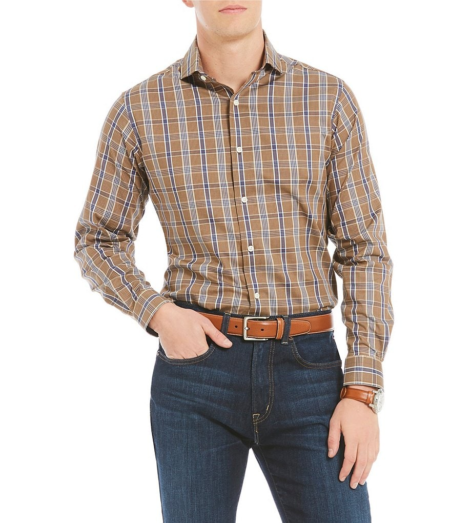 Cremieux Prince Slim-Fit Plaid Fine Twill Long-Sleeve Woven Shirt