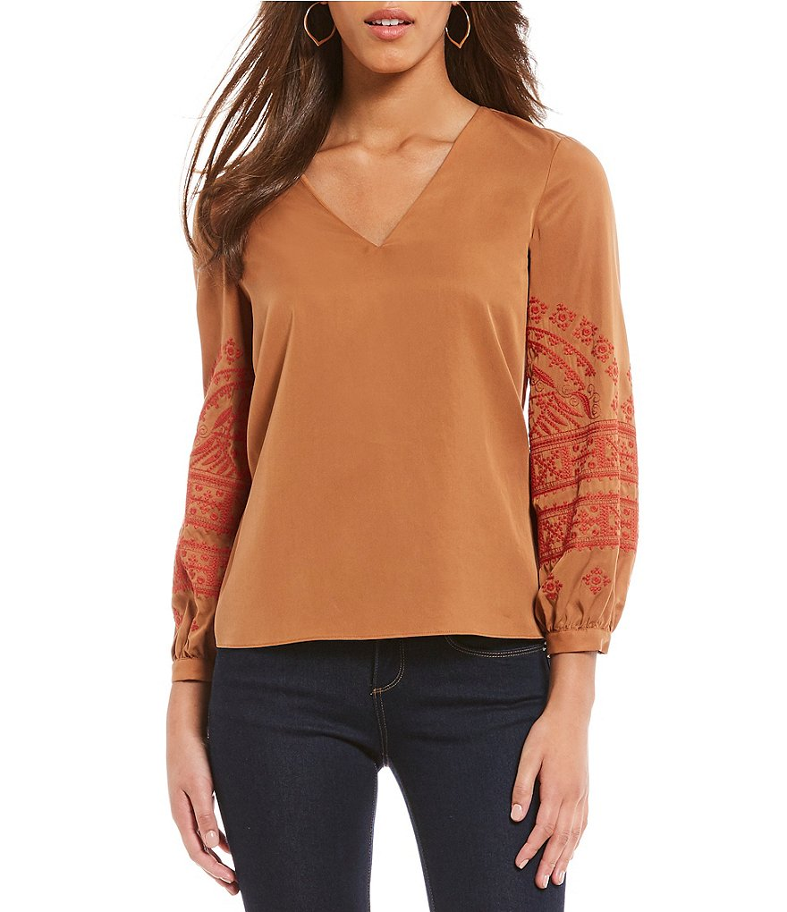 Cremieux Rachel Embroidered Sleeve Blouse