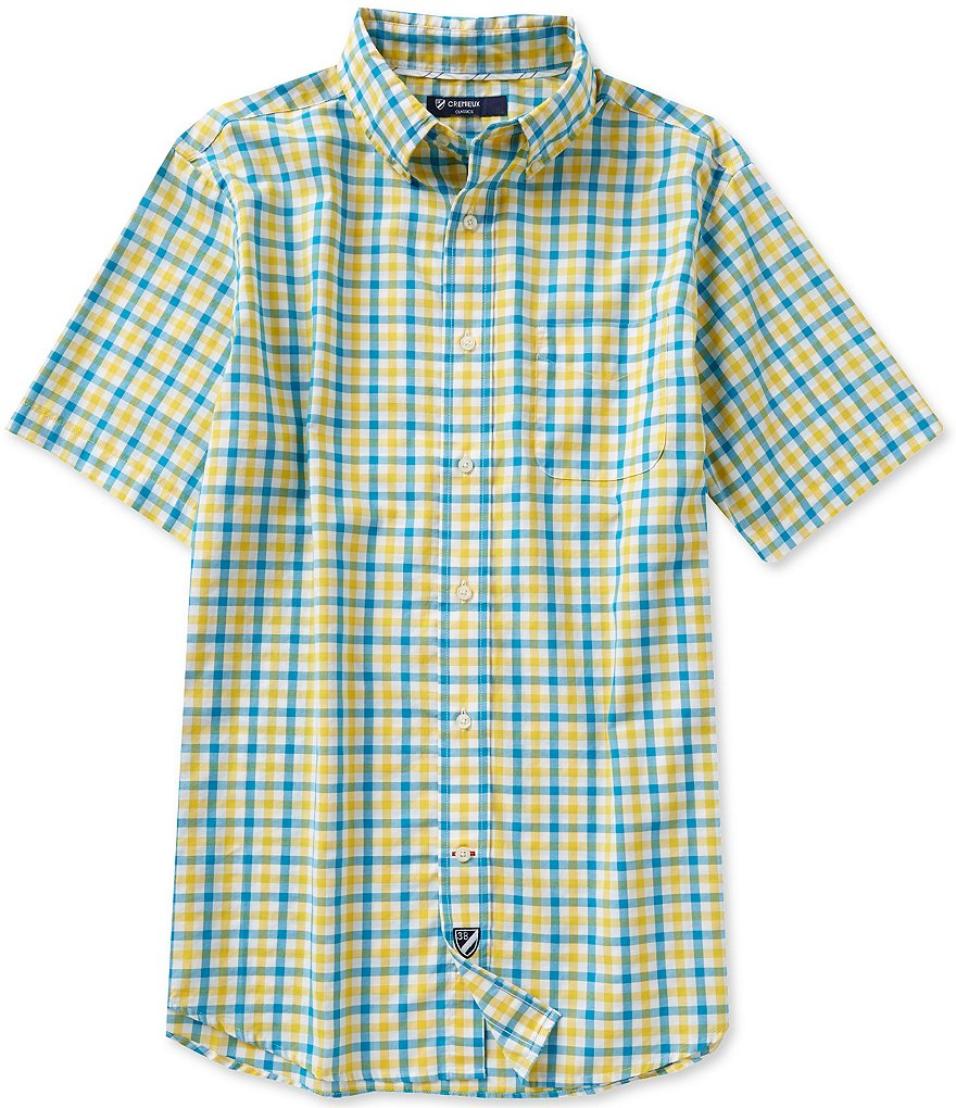 Cremieux Short-Sleeve Check Oxford Woven Shirt