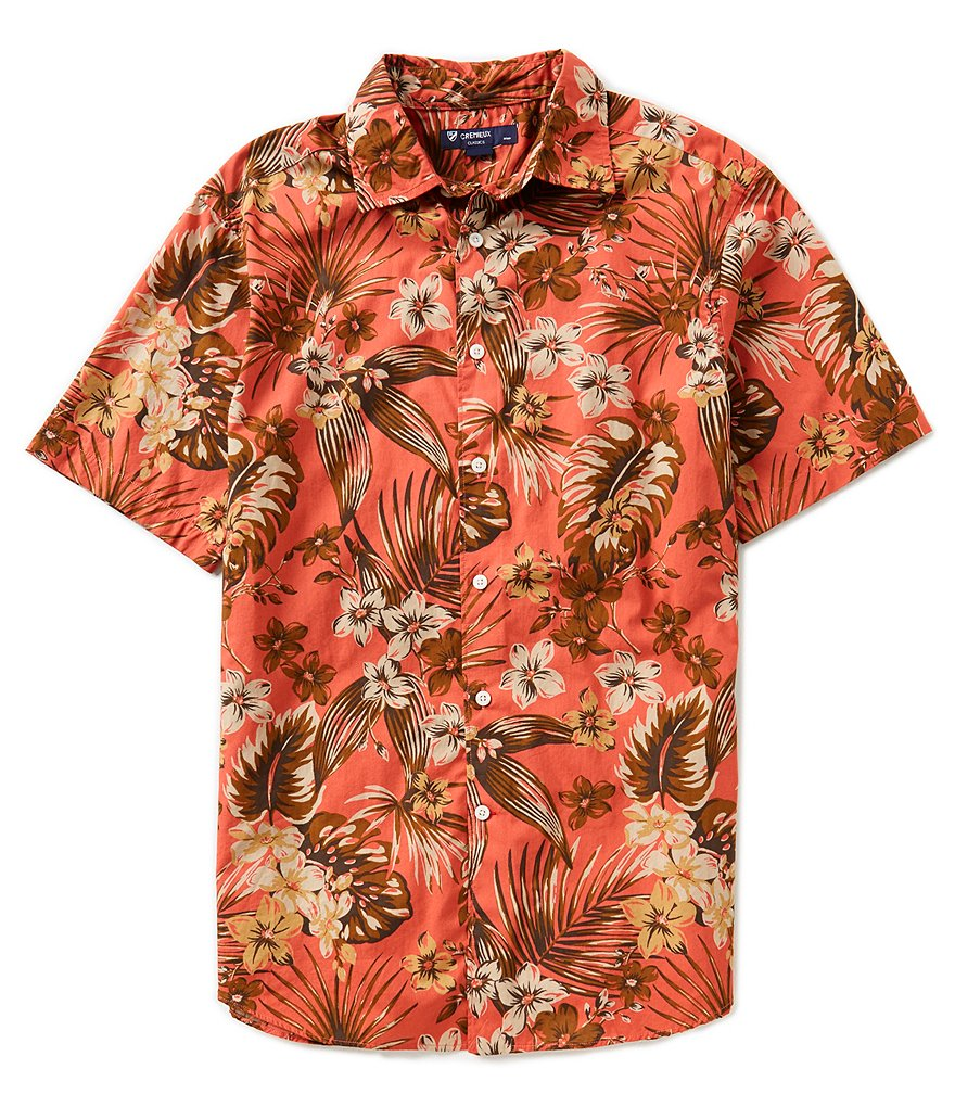 Cremieux Short-Sleeve Leaf Print Woven Shirt