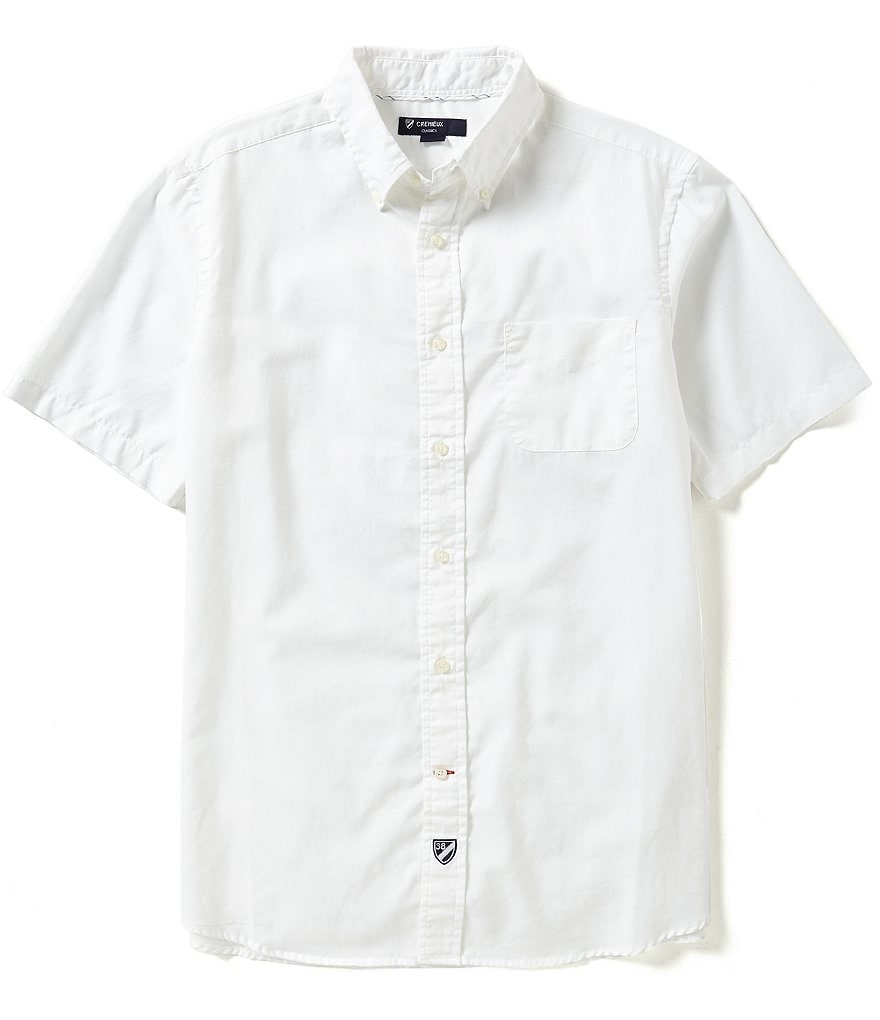 Cremieux Short-Sleeve Oxford Solid Woven Shirt