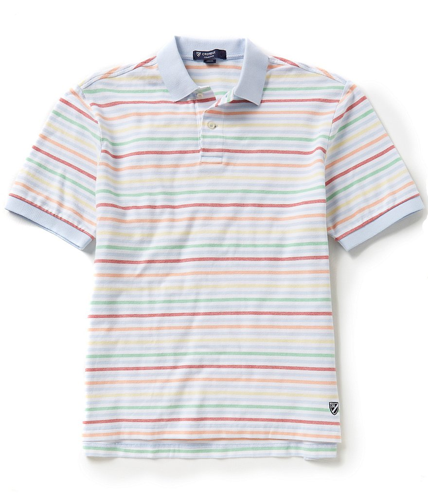 Cremieux Short-Sleeve Rainbow Horizontal-Stripe Polo Shirt