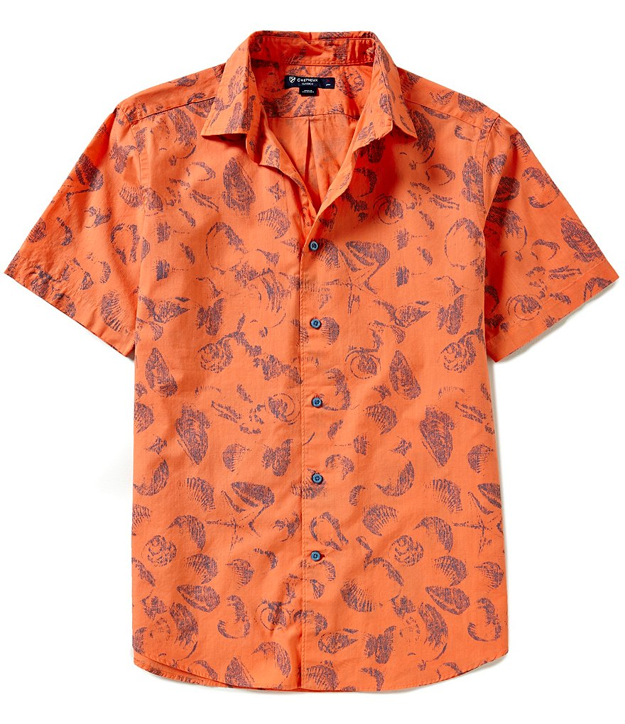 Cremieux Short-Sleeve Shell Print Slub Woven Shirt