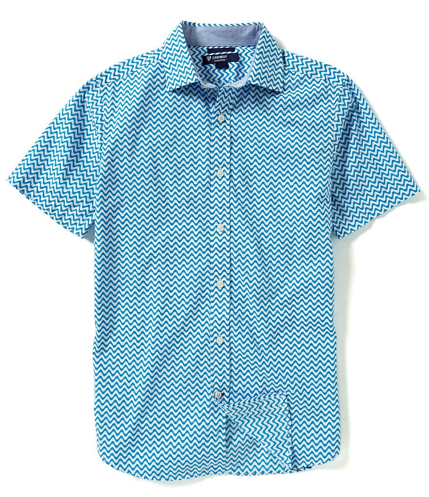 Cremieux Short-Sleeve Slim-Fit Printed Woven Shirt