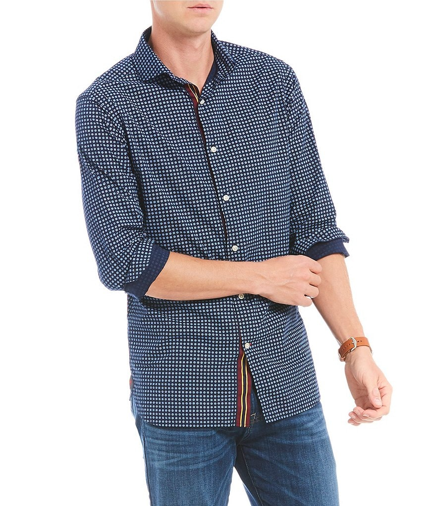 Cremieux Slim-Fit Geo Print Long-Sleeve Woven Shirt
