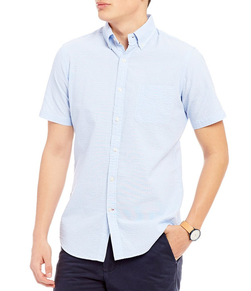 Cremieux Slim-Fit Mini-Stripe Seersucker Short-Sleeve Woven Shirt