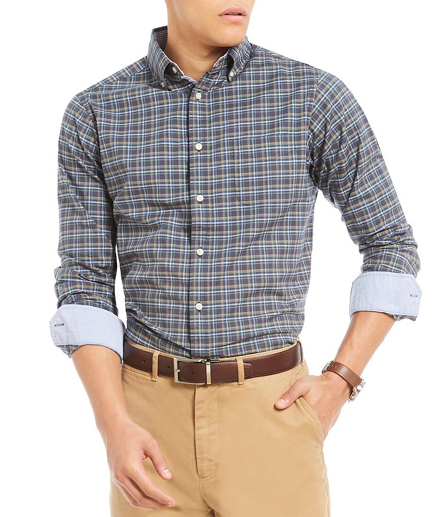 Cremieux Slim-Fit Small Windowpane Plaid Oxford Long-Sleeve Woven Shirt
