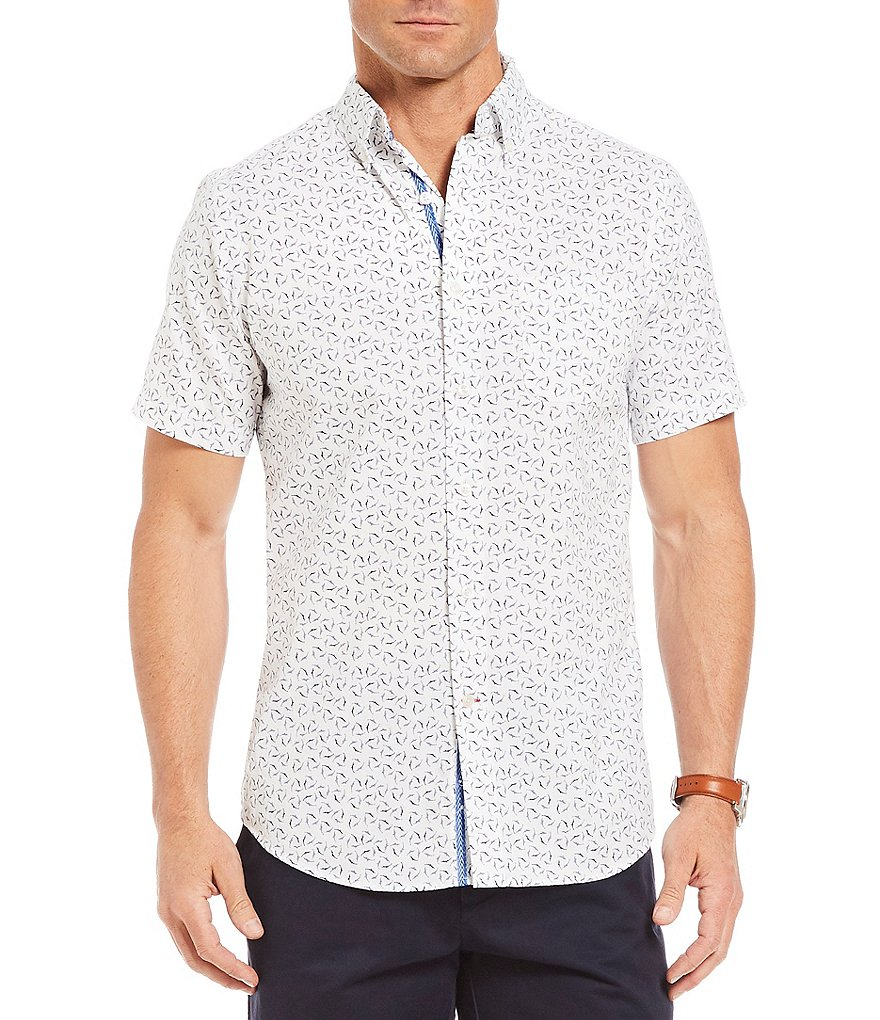 Cremieux Slim-Fit Shark Print Short-Sleeve Woven Shirt