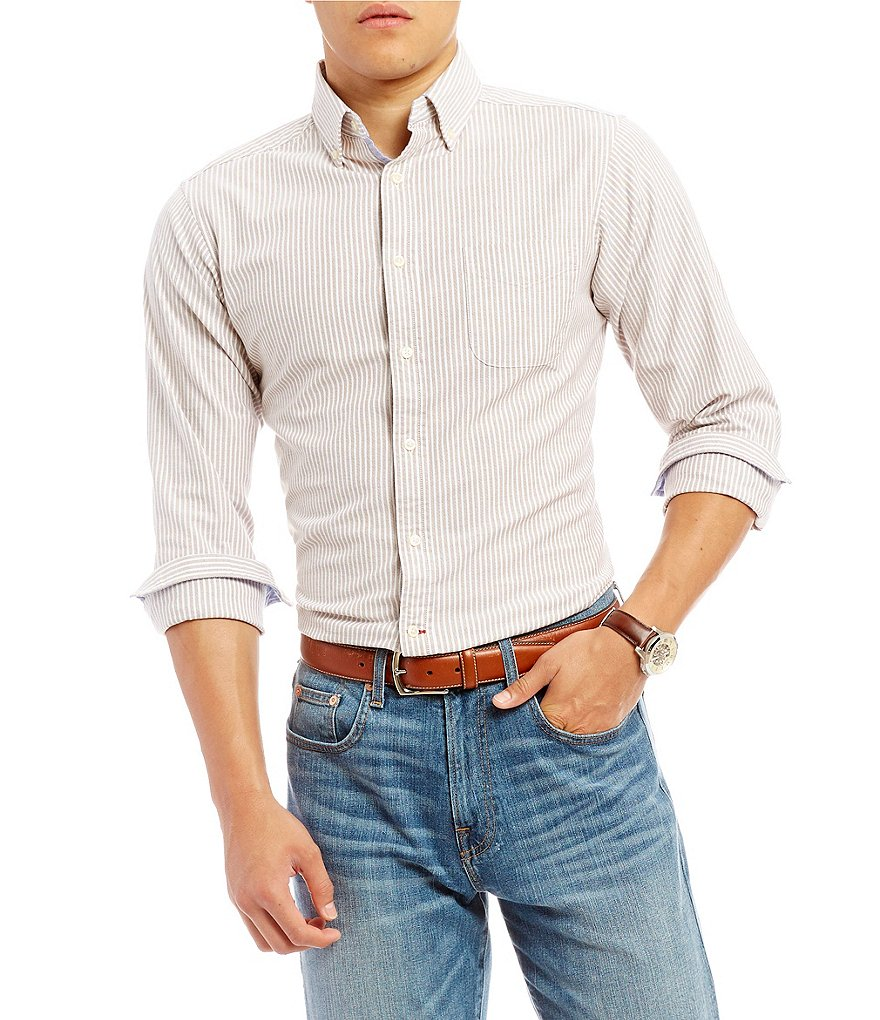 Cremieux Slim-Fit Stretch Stripe Oxford Long-Sleeve Woven Shirt