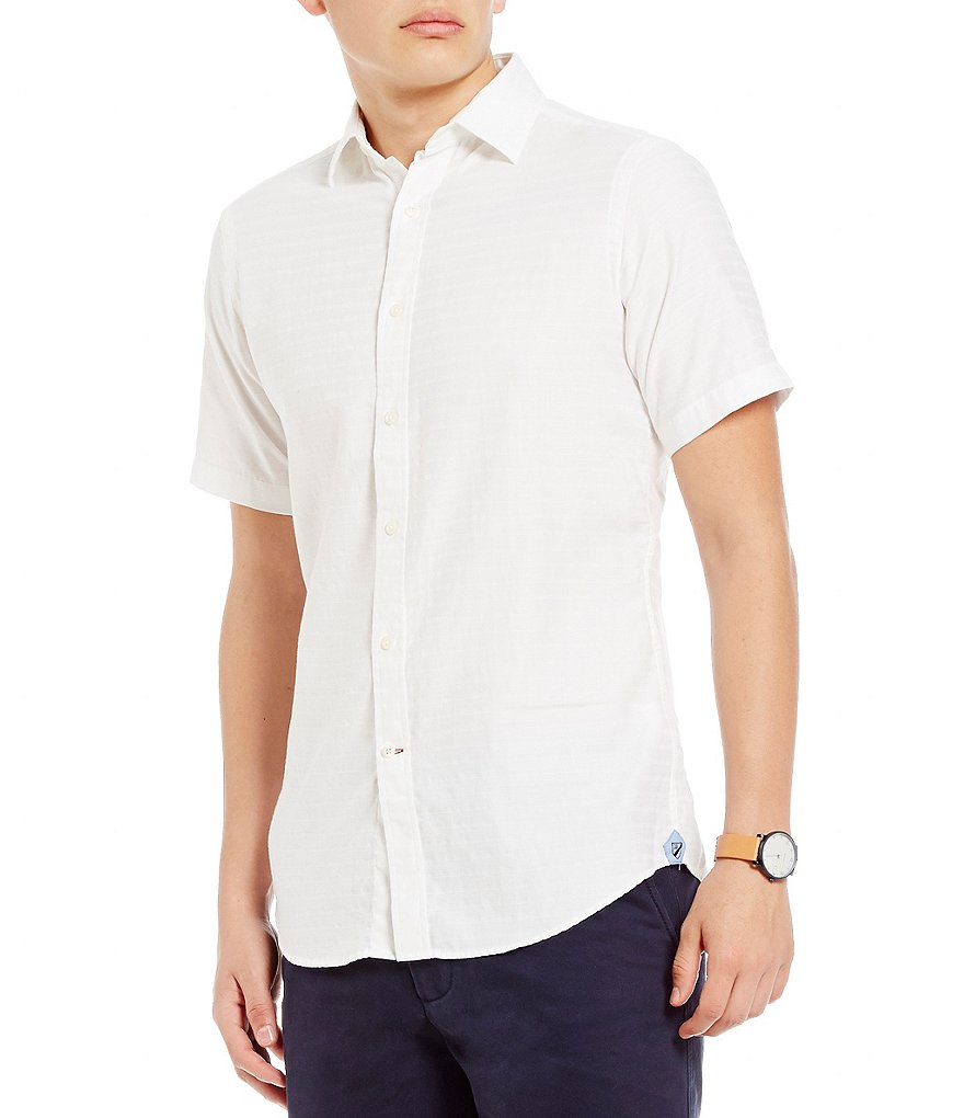 Cremieux Slim-Fit Textured Short-Sleeve Woven Shirt