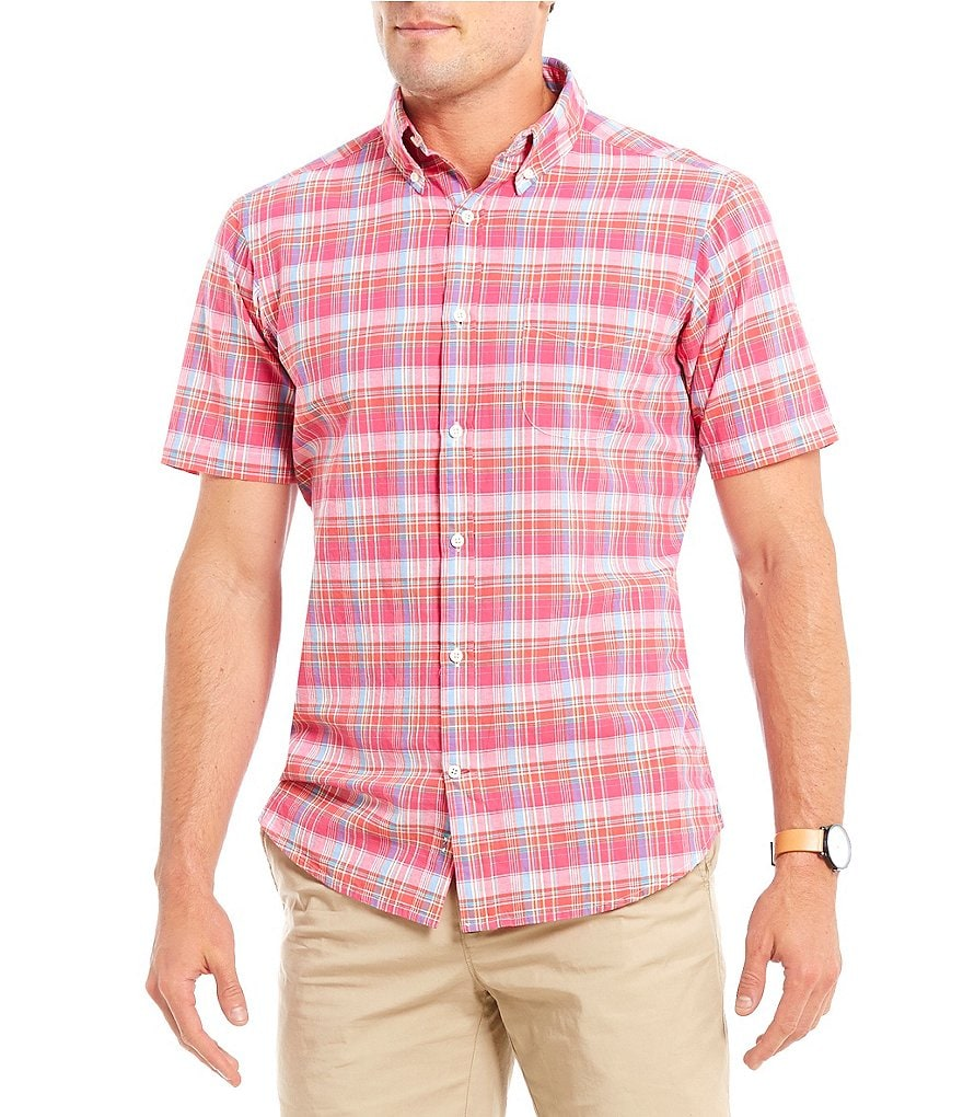 Cremieux Soho Plaid Madras Button Down Short-Sleeve Woven Shirt